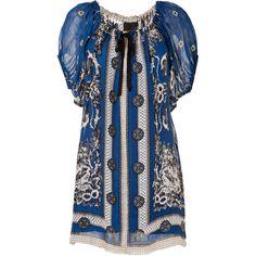 27b43a774f99 ANNA SUI Blue Bird Print Dress in Indigo Multi ($535) found on Polyvore Bird