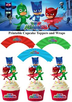 Printable Pj Masks Cupcake Toppers with Wrappers Pj Masks Birthday Cake, First Birthday Party Themes, 4th Birthday Parties, Birthday Ideas, Birthday Celebrations, 3rd Birthday, Pj Masks Cupcake Toppers, Pj Mask Cupcakes, Pjmask Party