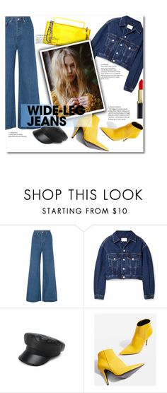 """""""Denim trend"""" by alecsiadima on Polyvore featuring Solace, Simon Miller, Topshop, Moschino, denimtrend and widelegjeans"""