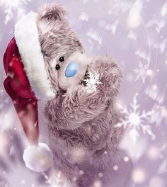 If kisses were snowflakes.I'd send you a blizzard Tatty Teddy, 3d Christmas, Christmas Pictures, Teddy Bear Pictures, Apple Watch Wallpaper, Blue Nose Friends, I Love Winter, Love Bear, Cute Teddy Bears