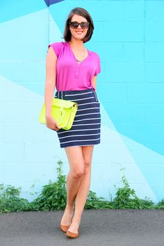 What I Wore, Jessica Quirk, How to Wear Neon, Neon Satchel, Madewell Necklace, Polka Dot Flats, Striped Skirt, Mulberry Top, Style Blog, Outfit Blog