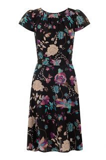 Moonlight Floral Bird Day Dress c4883eb2dd