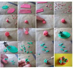 Making polymer clay raspberries