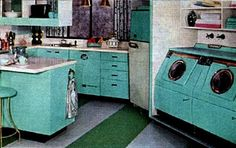 Often paired with soft pink, yellow or peach, or alternatively as in the fabulous kitchen above, black and white, turquoise became a very popular colour for kitchens, appliances and home decor in general during the fifties.