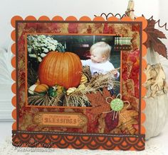 New Fall 2012 stamps from JustRite: Antique Autumn Tags One & Shabby Chic Autumn Leaves on scrapbook page.