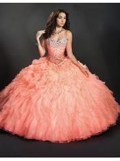 2014 Elegant sweetheart neck beading peach ruffles organza puffy quinceanera 15 dresses ML-88096