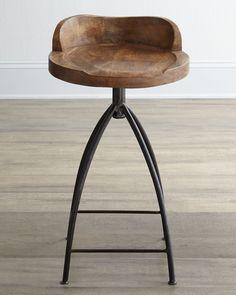 Wood Swivel Counter Stool, Brown - Arteriors