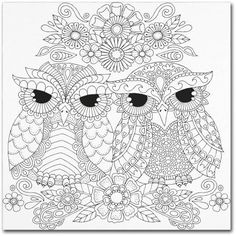 Trademark Fine Art Night Owls 5 inch Canvas Art by Hello Angel, Size: 14 x 14, Assorted