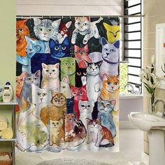 2017 New Cute Cat Shower Curtain Custom Cartoon Pattern Print Bathroom Curtain For Kids Waterproof Polyester Fabric Liner Plastic Curtains, Kids Curtains, Cat Shower Curtain, Shower Curtains, Bathroom Window Curtains, Water Color World Map, Cat Colors, Curtain Fabric, Curtains