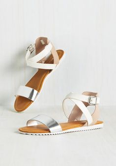 From Head to Tone Sandal. Its in your nature to consider every detail, which is why these faux-leather sandals are your right-hand pair! #silver #wedding #modcloth