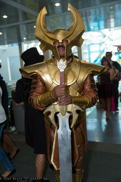 Heimdall watches over the entrance to #Comikaze #2013. #cosplay