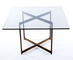 Barcelona Style End Tables (2)  Description:  1960-70's Brass X bases with Heavy Smoked Glass Top.