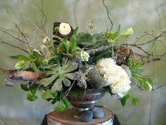 Hydrangea, succulents, honeycomb