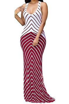 11fe5da0ecf New shekiss Women s Casual Sexy Summer Sleeveless Striped Bodycon Bandage  Club Long Maxi Dress With Plus Size Floor Length online.