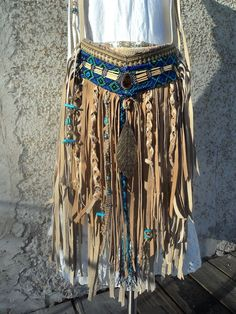 Handmade Tan Leather Boho Tribal CrossBody Bag Hippie Purse Beaded Fringe tmyers