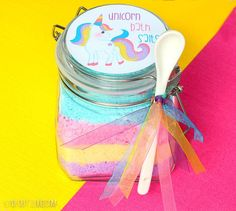 These Unicorn Fizzy Bath Salts make a delightful bath experience and a great gift with the free printable label! Baby soft skin is just a quick DIY away.