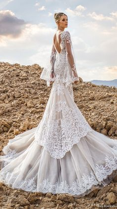 lian rokman 2017 bridal long bell sleeves deep plunging v neck full embellishment elegant sexy mermaid wedding dress open v back chapel train (moonlight) bv -- Lian Rokman 2017 Wedding Dresses