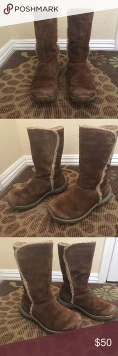 Patagonia Lugano boots Brown suede boots with faux shearling details. Matted shearling as shown in pictures otherwise in VGUC. Will keep you warm and dry in the snow. Waterproof Patagonia Shoes Winter & Rain Boots