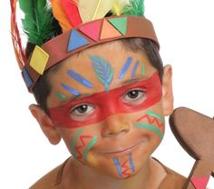 Grimtout, Make-up am Wasser, Sioux, Schritt 1 - maquillage Indian Birthday Parties, Indian Party, Face Painting Designs, Body Painting, Indian Face Paints, Painting For Kids, Art For Kids, Maquillage Halloween Clown, Anniversaire Cow-boy