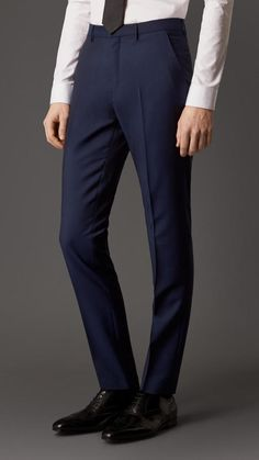 Slim Fit Wool Mohair Trousers in Royal Navy - Men Slim Fit Trousers, Trouser Pants, Pop Punk Fashion, Man Fashion, Lolita Fashion, Fashion Boots, Fashion Design, Pleated Pants, Dress Pants