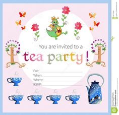 Summer Tea Time Party Invitation Stock Photos - Image: 14032473