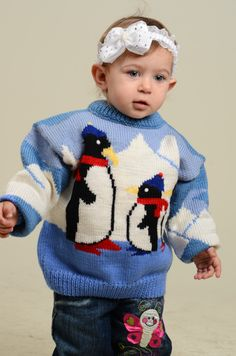 Children knit winter warm blue sweater with penguins.  Ready for shipment. teampinterest
