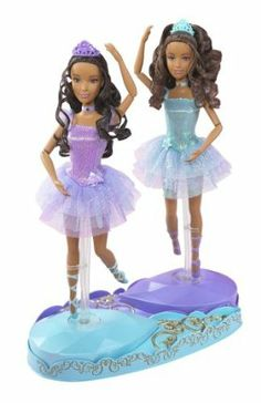 Barbie in the 12 Dancing Princesses Princess Isla and Princess Hadley Dolls African American by Mattel. $25.00. Each doll comes with a gem-inspired dancing stand, which girls push to spin the doll. They are dressed in lovely tutus with ornate bodices and dance together or individually. Age Range 3 to 12 Years. The stands also snap together to allow the twin sisters to spin together. Barbie? in The 12 Dancing Princesses, Barbie? doll plays a special role as the seventh...