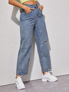 Ripped Solid Straight Jeans Without Belt , Classic Halloween Costumes, Denim Fabric, High Waist, Mom Jeans, Belt, Button, Tags, Casual, Clothes