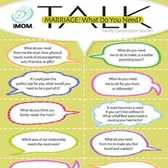 "Do you know what your husband needs, or does he keep things like that to himself? iMOM's ""What Do You Need?"" Marriage TALK conversation starters can help."