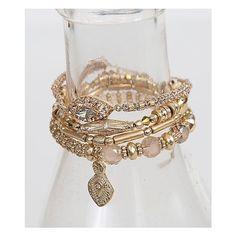 BKE Bracelet Set ($20) ❤ liked on Polyvore featuring jewelry, bracelets, gold, beaded stretch bracelet, gold bracelet, yellow gold jewelry, bracelet bangle and gold jewelry