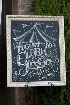 LOVE this chalk board/chalk art at this carnival themed wedding! Via Kara's Party Ideas - www.KarasPartyIdeas.com