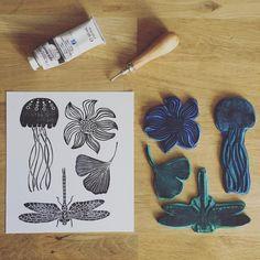 antaisie... . . . #linocut #gravure #cabinetdecuriosites #tampon #tamponfaitmain #rubberstamp #printing #printmaking #printmaker