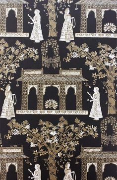 Sample Pavilion Garden Wallpaper in Chocolate by Nina Campbell for Osborne & Little Textiles, Textile Prints, Nina Campbell, Buch Design, Wall Wallpaper, Metallic Wallpaper, Bedroom Wallpaper, Burke Decor, Indian Art