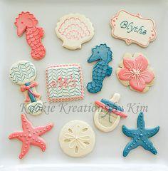 Beach Theme Baby Shower Cookie   Kookie Kreations By Kim