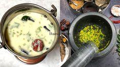 A Story of My Gujarati Kadhi with Masala Video Recipe - Spicy Yogurt Sou... Gujarati Cuisine, Gujarati Recipes, Bhavna's Kitchen, Gram Flour, Mortar And Pestle, Spicy Recipes, Cheeseburger Chowder, Food Videos, Yogurt