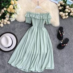 Women Summer Dresses Plaid Slash Neck Off Shouder Solid Vestidos 2019 Ruffles A-Line High Waist Dress Robe Femme 11767 Color Black Size One Size Cute Casual Outfits, Pretty Outfits, Casual Dresses, Low Cut Dresses, Casual Belt, Stylish Outfits, Cute Dresses, Beautiful Dresses, Girls Dresses