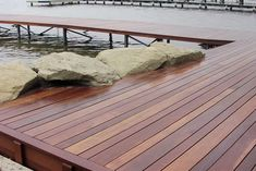 """Red Batu/Balau, occas referred to as """"Mahogany"""" desde pais that are ecological, w/25 Yr Ltd Warranty prov by Kayu Int'l. Used for over 50 yrs extensively in US  abroad in the most demanding applications wharves, boardwalks, fishing boat decks and mine shaft timbers It is resistant to termites and fungus.Easy maintenance!  Penetrating finishes R best @ protecting deck. recommend using a finish, such as Penofin,w/UV inhibitors (reduce fading  mildew retardants to min black mildew that may form…"""