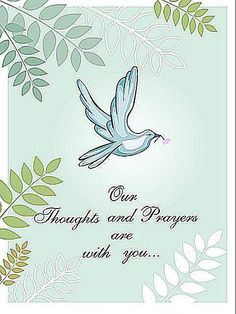 A blue and green sympathy card with a bird on the front.