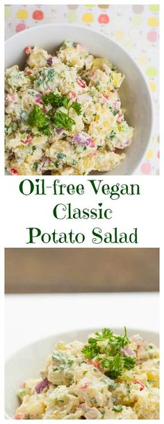 A classic potato salad recipe that is both oil-free and vegan. With Cashew Mayo. Crowd pleasing and easy to make.