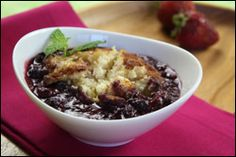 Yummy slow cooker fruit cobbler! So easy! Made with Heart Healthy Bisquick.