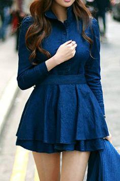 Cute Shirt Collar Long Sleeve Spliced Lace-Up Women's Dress