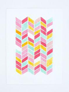 chevron watercolor PRINT -  geometric pattern - nursery artwork -  pink, yellow, mint, turquoise, coral
