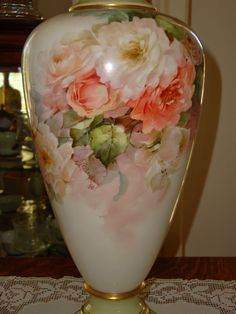 Antique American Belleek Master China Painter George Leykauf signed 1898 19th Century Museum Quality ~Breath Taking Roses~