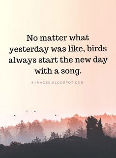 New Day Quotes no matter what yesterday was like birds always start the New Day Quotes. New Day Quotes today is a new day live life happy 71 inspirational new day quotes and sayings sayings point 71 inspirational new day q. New Day Quotes, Quote Of The Day, Quotes To Live By, Good Start Quotes, Starting Over Quotes, Singing Quotes, Song Quotes, Quotes From Songs, Positive Quotes