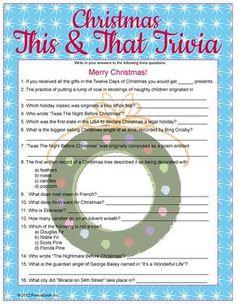 Christmas This & That Trivia Christmas Trivia Games, Xmas Games, Holiday Games, Christmas Activities, Christmas Printables, Christmas Traditions, Holiday Fun, Holiday Ideas, Christmas Questions
