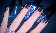 what i use for my starry night sky nails. simple and effective: LA colors base and top coat, LA colors color crazy black with glitter, NYC 105 starry silver