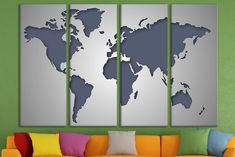 Silver world map large world canvas map travel map personalized canvas print wall art world map canvas world canvas large canvas art wood world map framed world map canvas print photo split canvas gumiabroncs Images