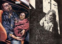 Mike Perkins' modern take on The Stand (left), versus Bernie Wrightson's original book illustrations