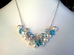 Blue and White Pearls Necklace & Earrings Set  by LaLaCrystal, $48.00