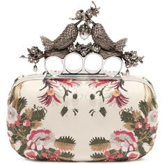 Alexander McQueen Floral Embroidery Bird Knuckle Clutch ($2,595) ❤ liked on Polyvore featuring bags, handbags, clutches, purses, bolsas, chemise and multicolor, floral purse, hard clutch, multi colored handbags and pink handbags